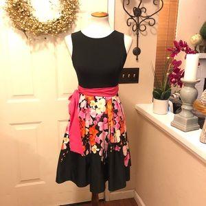 Eliza J Hot Pink Floral Tie Waist Beautiful Dress